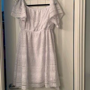 Off the shoulder white crochet dress